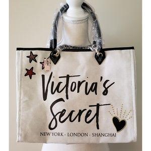 Victoria's Secret - Canvas Ivory Colored Tote NWT